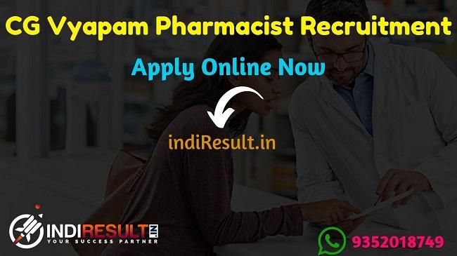 CG Vyapam Pharmacist Recruitment 2019,CG Vyapam Pharmacist Vacancy 2019,CG Vyapam Pharmacist Notification,Pharmacist Vacancy In CG Vyapam,vyapam.cgstate.gov