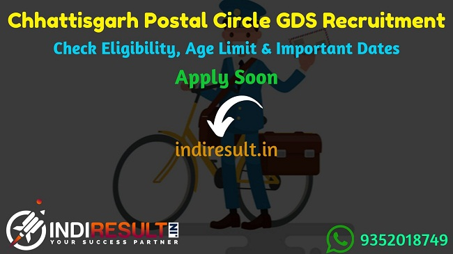 Chhattisgarh Postal Circle GDS Recruitment 2019 - Check Chhattisgarh GDS Notification, Eligibility Criteria, Age Limit, Educational Qualification and Selection process. Postal Circle Chhattisgarh invites online application to fill 1799 vacancies of Gramin Dak Sevak Posts.