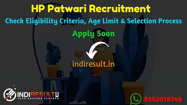 HP Patwari Recruitment 2019 - Check HP Revenue Patwari Eligibility Criteria, Age Limit, Educational Qualification and selection process. Himachal Pradesh Govt invites online application to fill 1195 vacancies to the post of Patwari posts.