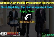 Karnataka KEA Assistant Public Prosecutor Recruitment 2020- Check Karnataka Asst. Public Prosecutor Notification, Eligibility Criteria, Age Limit, Educational Qualification and Selection process. Examination Authority of Karnataka invites online application to fill 124 vacancies to the post of APP.