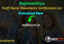 Rajasthan Swasthya Vibhag Staff Nurse Documents Verification List - The Rajswasthya Vibhag Rajasthan has released Rajasthan Swasthya Vibhag Staff Nurse Result Download Documents Verification List 2019.
