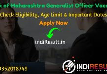 Bank of Maharashtra Generalist Officer Recruitment 2020 - The Bank of Maharashtra BOM has published Generalist Officer in Scale II & III vacancy notification for 300 posts. Check Bank of Maharashtra Generalist Officer Notification, Eligibility Criteria, Age Limit, Educational Qualification and selection process. This is a great opportunity for the applicants who are searching for Govt Jobs in Maharashtra.