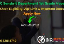 RPSC Sanskrit Shiksha Vibhag 1st Grade Teacher Recruitment 2020 - Check RPSC Rajasthan Sanskrit Shiksha Vibhag School Lecturer Eligibility Criteria, Age Limit, Educational Qualification and selection process. Rajasthan Public Service Commission RPSC invites online application to fill 264 vacancy of School Lecturer posts in Sanskrit Education Department. This is a great opportunity for the applicants who are searching for Govt Jobs in Rajasthan.