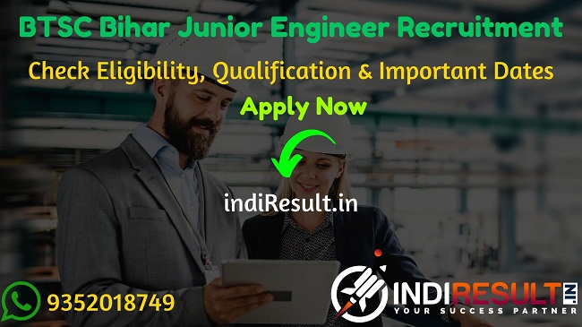 BTSC Bihar Junior Engineer Recruitment 2020 - Check BTSC Bihar Jr Engineer Recruitment Notification, Eligibility Criteria, Age Limit, Educational Qualification and selection process. The Bihar Technical Service Commission, BTSE Bihar invites online application to fill 6379 vacancy of JE posts. This is a great opportunity for the applicants who are searching for Govt Jobs in Bihar.