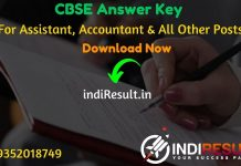 CBSE Junior Assistant Answer Key 2020 - The Central Board of Secondary Education CBSE has released Answer Key Of CBSE Stenographer Junior Assistant, Assistant Secretary, Junior Hindi Translator, Assistant Secretary (IT), Analyst (IT), Senior Assistant, Accountant and Junior Accountant on its official website cbse.nic.in. Aspirants can download CBSE Answer Key For Recruitment Exam 2020.