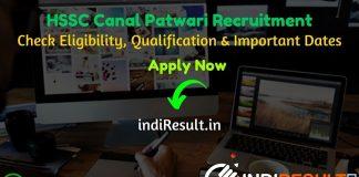 HSSC Haryana Canal Patwari Recruitment 2021 - Apply Haryana HSSC 1100 Canal Patwari Vacancy Notification, HSSC Canal Patwari Eligibility Criteria, Salary.