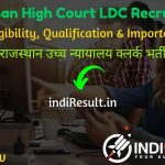 Rajasthan High Court Clerk Recruitment 2021 - Apply Rajasthan High Court 1760 LDC Vacancy Notification, Salary, Eligibility Criteria, Age Limit, Last Date.