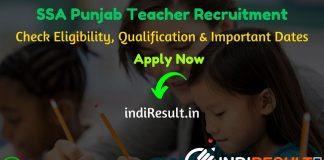 SSA Punjab Teacher Recruitment 2020 - Sarva Shiksha Abhiyan (SSA) Punjab Recruitment 2020 For 3704 Vacancies for Master/Mistress Cadre Teacher Posts. Check SSA Punjab Teacher Notification 2020, Eligibility Criteria, Age Limit, Educational Qualification and Selection process.