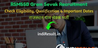 RSMSSB Gram Sevak Recruitment 2020 Notification Gram Sevak Vacancy in Rajasthan : Check RSMSSB Rajasthan Gram Sevak Notification, Eligibility Criteria, Age Limit, Educational Qualification and selection process. Rajasthan Subordinate and Ministerial Services Selection Board will invite online application to fill 2261 vacancy of Gram Sevak posts.