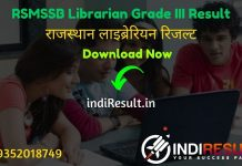 RSMSSB Librarian Result 2021 - Download RSMSSB Rajasthan Librarian Result, Cut off & Merit List 2021. Rssb released result of Librarian Grade III Exam.