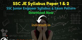 SSC JE Syllabus 2020 SSC Junior Engineer Syllabus SSC JE Exam Pattern SSC JE 2020 Syllabus Download Pdf SSC JE Paper 1 Syllabus SSC JE Paper 2 Syllabus SSC JE Subject Wise Syllabus Pdf SSC JE Important Books. Staff Selection Commission has released official SSC JE 2020 Syllabus pdf & SSC JE Exam Pattern 2020.