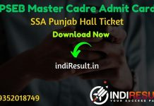 PSEB Master Cadre Admit Card 2020 - Download Admit Card of SSA Punjab PSEB Master Cadre Teacher Exam 2020. Punjab Education Board will publish Admit Card Of SSA PSEB Master Cadre exam on official website ssapunjab.org.