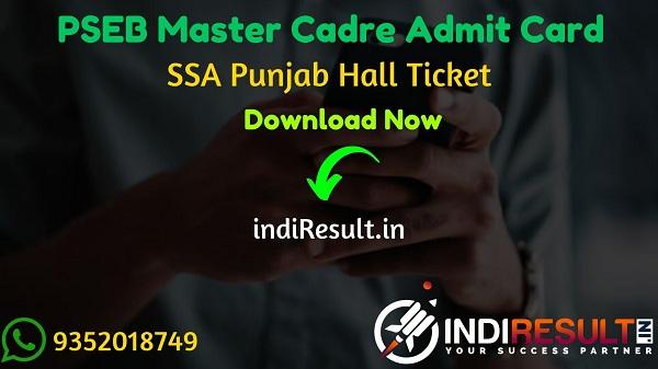 PSEB Master Cadre Admit Card 2020 - Download Admit Card of SSA Punjab PSEB Master Cadre Teacher Exam 2020. Punjab Education Board will publish Admit Card Of SSA PSEB Master Cadre exam on official website ssapunjab.org.
