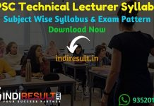 RPSC Technical Lecturer Syllabus 2021 - Check RPSC Rajasthan Technical Lecturer Syllabus Pdf Download in Hindi & Exam Pattern, Download RPSC Syllabus 2021.