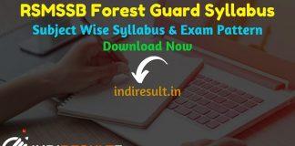 RSMSSB Forest Guard Syllabus 2021 - Download pdf of Rajasthan Forest Guard Syllabus in Hindi & RSMSSB Vanrakshak Syllabus & Forest Guard Exam Pattern pdf.