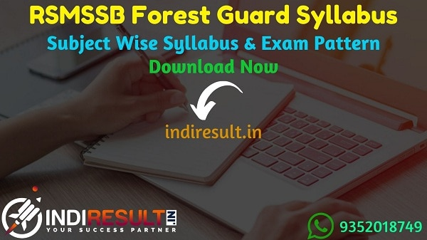 RSMSSB Forest Guard Syllabus 2020 - Check RSMSSB Rajasthan Forest Guard Syllabus 2020 Download pdf in Hindi and RSMSSB Vanrakshak Syllabus & Exam Pattern Official pdf Download.