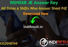 RSMSSB JEN Answer Key 2021 - Rajasthan RSMSSB Junior Engineer Answer Key pdf & RSMSSB JE Civil, Mechanical & Electrical Answer Key will be published soon.