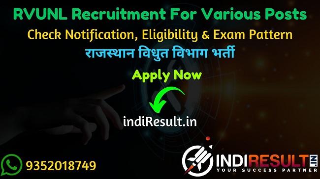 RVUNL Recruitment 2021 - Rajasthan Vidyut Vibhag will publishe recruitment notification pdf for RVUNL JVVNL JEN , PA, Junior Accountant, Junior Assistant/Commercial Assistant, IA, Steno, AEN, Chemist, JPA, Technical Helper, Helper 2nd and other posts.