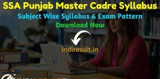 PSEB Master Cadre Syllabus 2021 - Download SSA Punjab Master Cadre Syllabus Pdf, PSEB Master Cadre Exam Pattern, SSA Punjab Master Syllabus 2021.