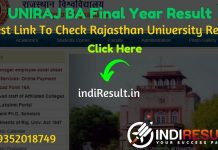 Rajasthan University UNIRAJ BA Final Year Result 2020 - University of Rajasthan BA Part 3 Result 2020 Download Roll No./Name Wise Link @ result.uniraj.ac.in