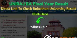 Rajasthan University UNIRAJ BA Final Year Result 2020 - University of Rajasthan BA Part 3 Result 2020 Download Roll No./Name Wise Link @ result.uniraj.ac.in