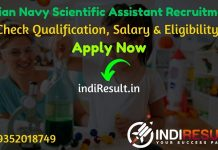 Indian Navy Scientific Assistant Recruitment 2021 - Check Indian Navy Scientific Assistant Vacancy Notification, Salary, Eligibility Criteria, Age Limit.