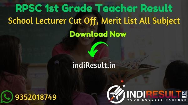 RPSC 1st Grade Result 2020 : Download RPSC School Lecturer Result Cut Off & Merit List Pdf & RPSC 1st Grade Teacher Result Name wise Roll No, All Subject Pdf.