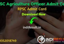 RPSC Agriculture Officer Admit Card 2021 - Download Admit Card RPSC Agriculture Officer. RPSC Agriculture Officer Exam Date 19 January. RPSC AO Admit Card