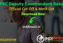 RPSC Deputy Commandant Result 2020 - Download RPSC Deputy Commandant Exam Result, Cutoff & Merit List 2020. The Result Date Of RPSC Deputy Commandant Exam is 01 December 2020.