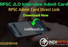 RPSC JLO Interview Admit Card 2020 - Download Admit Card of RPSC JLO Interview Exam 2020. Rajasthan Public Service Commission published RPSC JLO Interview Dates.
