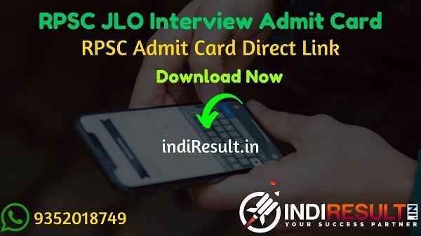 RPSC JLO Interview Admit Card 2020 - Download Admit Card of RPSC JLO Interview Exam 2020. Rajasthan Public Service Commission published RPSC JLO Interview Dates.