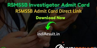RSMSSB Investigator Admit Card 2020 - Download Admit Card Of RSMSSB Investigator Exam 2020. Exam Date of RSMSSB Investigator Exam is 27 December 2020. Rajasthan Subordinate and Ministerial Services Selection Board will publish Admit Card Of RSMSSB Investigator exam on official website