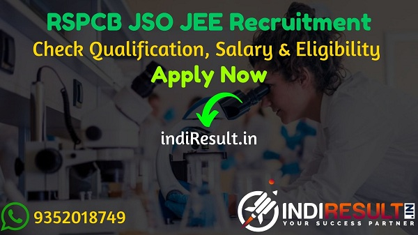RSPCB JSO JEE Recruitment 2021: Apply Online For RSPCB Junior Scientific Officer, Jr Environmental Engineer Vacancy Notification, Eligibility, Salary, form.