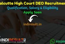 Calcutta High Court DEO Recruitment 2021 - Apply Calcutta High Court Data Entry Operator Vacancy Notification, Eligibility Criteria, Salary, Age Limit, Date
