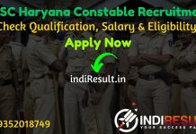Haryana HSSC Constable Recruitment 2021 - HSSC Haryana 7298 Constable Bharti Notification, Eligibility Criteria, Salary, Age Limit, Qualification,Last Date.
