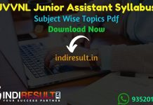 JVVNL Junior Assistant Syllabus 2021 - JVVNL Junior Assistant/Commercial Assistant Syllabus pdf Download & Raj Vidhut Vibhag JVVNL JA Syllabus Exam Pattern.