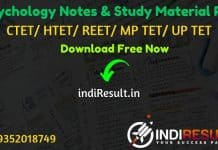 Psychology Notes in Hindi Pdf for REET/ HTET / CTET/ UPTET/ MPTET – Download Psychology Study Material Notes pdf in Hindi. Psychology Questions CTET/ REET.