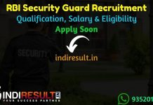 RBI Security Guard Recruitment 2021 - Reserve Bank of India RBI 241 Security Guard Vacancy Notification, Eligibility Criteria, Salary, Last Date, Age Limit.