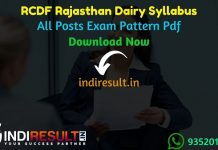 RCDF Syllabus 2021 - Download Rajasthan Dairy RCDF JE, Manager, Accountant, Dairy Technician, Assistant, Fitter, Welder, Helper Syllabus pdf in Hindi.