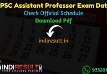 RPSC Assistant Professor Exam Date 2021 - Rajasthan Public Service Commission published RPSC Assistant Professor Exam schedule.Download RPSC Exam Schedule.