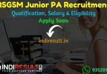RSGSM Junior PA Recruitment 2021 - Rajasthan State Ganganager Sugar Mills RSGSM Junior PA English vacancy Notification, Eligibility Criteria, Salary, Age Limit,
