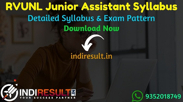 RVUNL Junior Assistant Syllabus 2021 - RVUNL Junior Assistant/Commercial Assistant Syllabus pdf Download & Raj Vidhut Vibhag RVUNL JA Syllabus Exam Pattern.