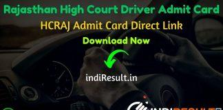 Rajasthan High Court Driver Admit Card 2021 - Download HCRAJ Driver Admit Card & RHC Chauffeur Admit Card for written Exam . RHC Driver Admit Card Name Wise.