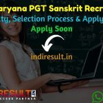 HSSC Haryana PGT Sanskrit Recruitment 2021 - Apply HSSC 534 PGT Sanskrit Teacher Vacancy Notification, HSSC PGT Recruitment Eligibility Criteria, Salary.
