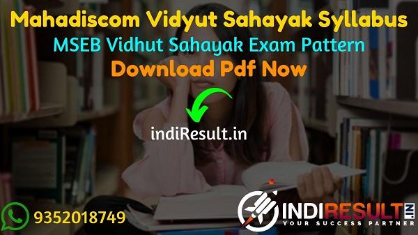 Mahadiscom Vidyut Sahayak Syllabus 2021 - Download Mahadiscom MSEDCL Vidyut Sahayak Syllabus Pdf in Hindi/Marathi. MSEB Vidyut Sahayak Syllabus Pdf