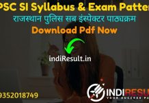 RPSC SI Syllabus 2021 - Download RPSC Sub Inspector Syllabus pdf in Hindi/English & RPSC SI Exam Pattern, Download RPSC Police SI Syllabus in Hindi pdf.