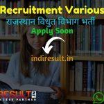 RVPN Recruitment 2021 - Rajasthan Vidyut Vibhag published RVPN 1295 Jr Accountant, Junior Assistant, Steno, JLO, JPA Recruitment Notification pdf.