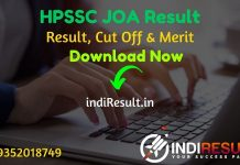HPSSC JOA Result 2021 - Download HPSSSB HPSSC Junior Office Assistant Result, Cut off & Merit List 2021. The HPSSC JOA IT Result Date is March 4th Week 2021