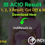 IB ACIO Result 2021- Download Intelligence Bureau MHA IB ACIO Tier 1 Result, Cut off & Merit List 2021. Result Date Of IB ACIO Exam is March Last Week 2021