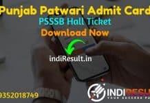 Punjab Patwari Admit Card 2021 – Download PSSSB Patwari Admit Card 2021. As Per PSSSB Official Notification Punjab Patwari Exam Date is 02 May 2021.